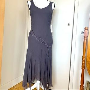 Jonathan Martin Studio grey silk dress w beading